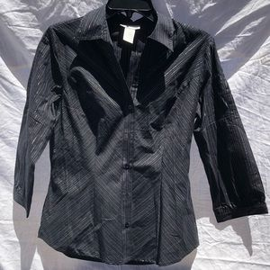 Worthington stretch black striped blouse